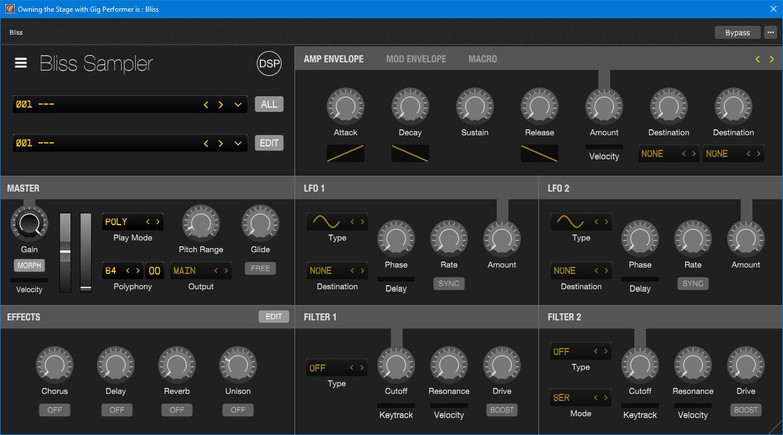 Bliss, VST audio plugin in Gig Performer, audio plugin host