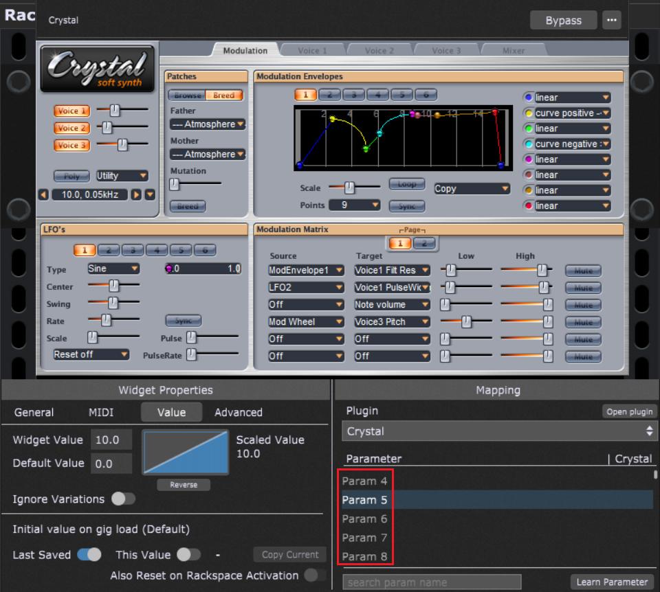 Crystal, Soft Synth VST plugin in Gig Performer
