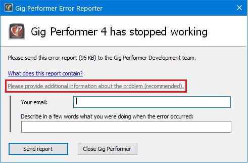 Gig Performer Error Reporter