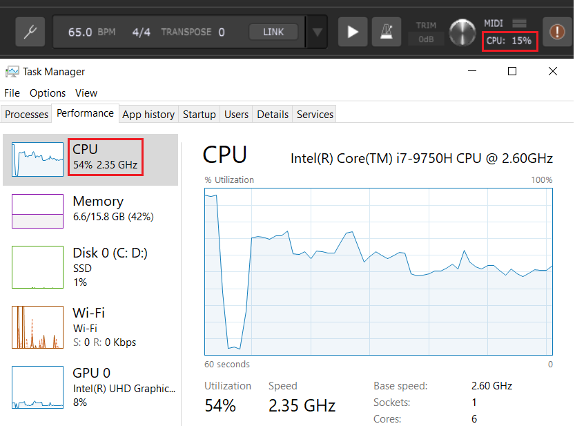 Audio CPU usage vs overall CPU usage, demonstrated in Gig Performer