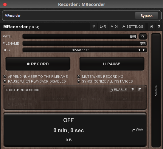 Free MRecorder plugin from Melda Productions, in Gig Performer, cross-platform audio plugin host