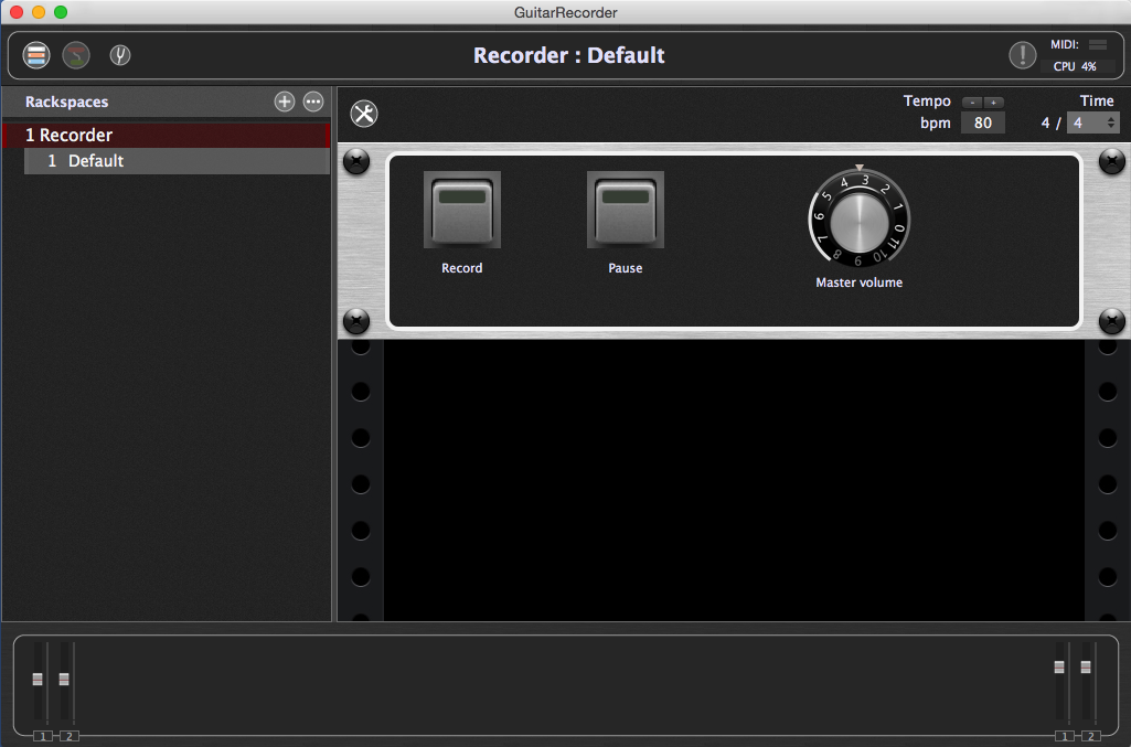 Widgets on a front panel control the recording process in Gig Performer, plugin host