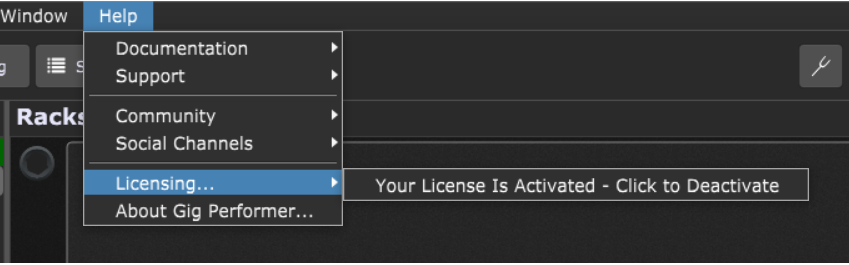 Gig Performer License Activate and Deactivate