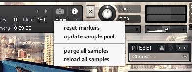 Kontakt, Purge drop down box, Purge all samples