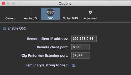 Gig Performer, OSC configuration, OSC options, Lemur, TouchOSC