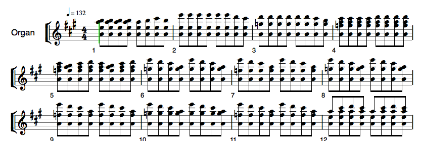 Won't Get Fooled Again by The Who notation, 8th note chords