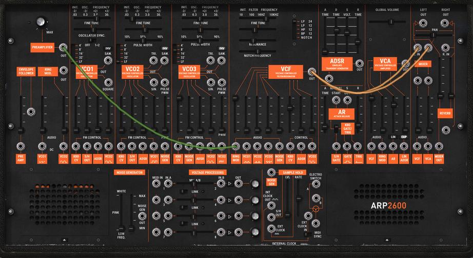 Arturia's ARP-2600 plugin editor in Gig Performer