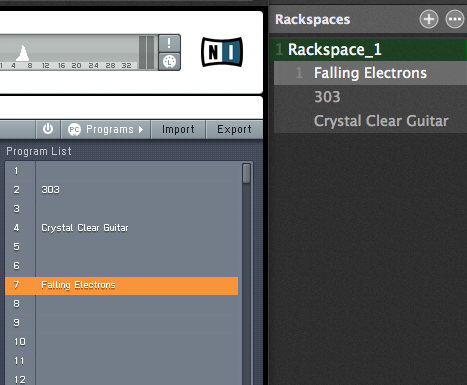 Gig Performer audio plugin host and FM8 plugin, Program Change items
