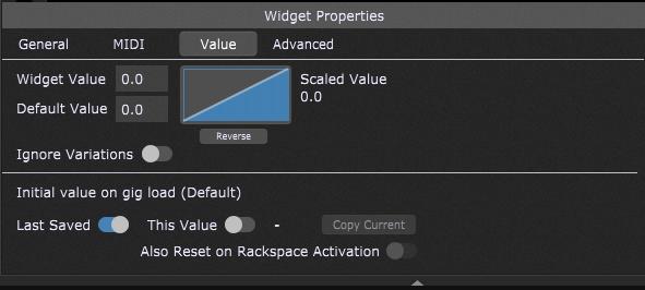 Initial value on gig load, Widget Properties Inspector in Gig Performer.