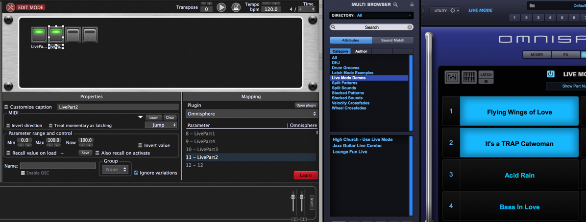Gig Performer, Omnisphere plugin, host automation value for next slot
