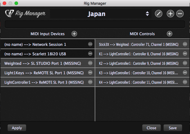 MIDI input devices and MIDI controls in Rig Manager, Gig Performer