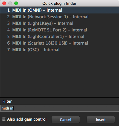 Gig Performer Quick Plugin Finder, MIDI in