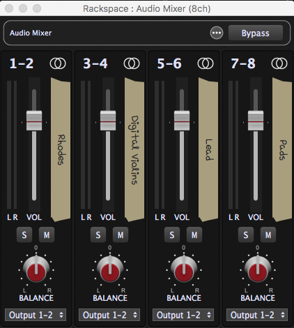 Audio Mixer in Gig Performer, multi-channel gain control plugin