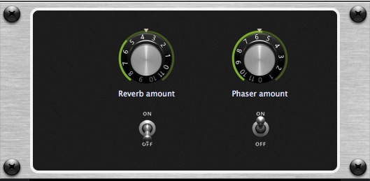 Front panel widgets to control reverb and phazer, Gig Performer, audio plugin host
