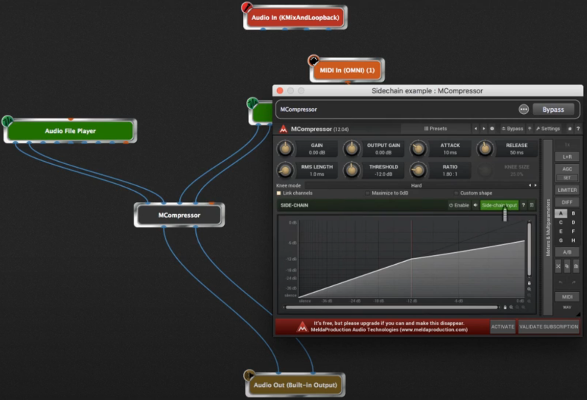 Side-chaining example in Gig Performer with Melda MCompressor
