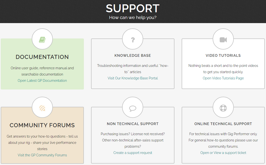 Sections in Gig Performer support portal
