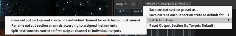 Clear output section and create one individual channel for each loaded instrument
