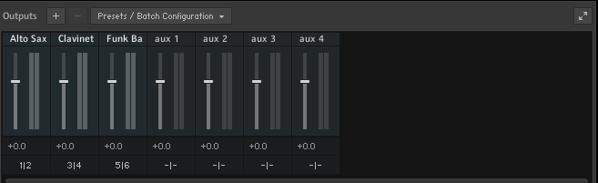 Kontakt, Three instruments, each of which is on its own channels