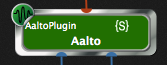 Aalto plugin displays its GPScript name, indicator on the right {S}, GP scripts.