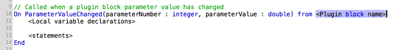 GPScript in Gig Performer, Code called when a plugin block parameter value has changed