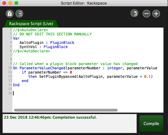 GPScript code in GPScript editor, compile code, Gig Performer