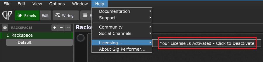 Gig Performer License Activation