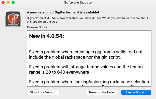 Gig Performer, Update Available, macOS