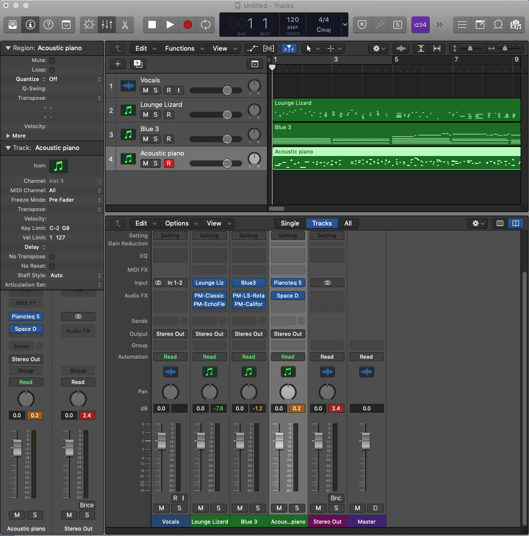 Screenshot of Logic Pro, 1 audio track for vocals, 3 MIDI tracks, with plugins and effects