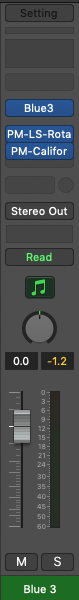 A closer look at one of the channel strips in Logic Pro