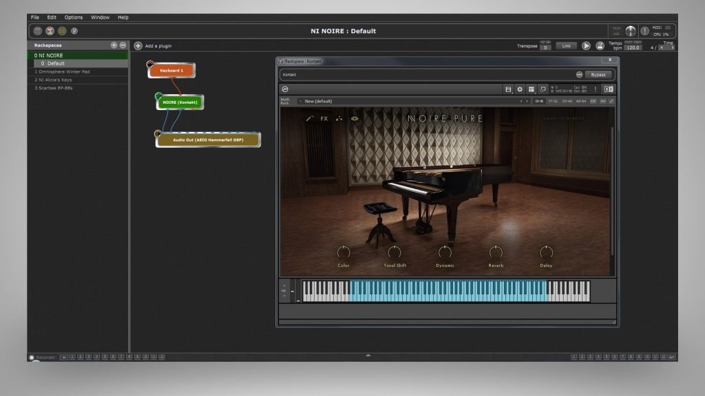 Gig performer and Native Instruments Noire Plugin