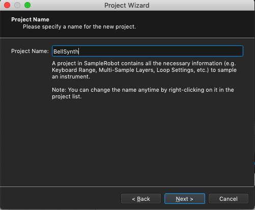 Kontakt plugin, SampleRobot Project Wizard, Project Name