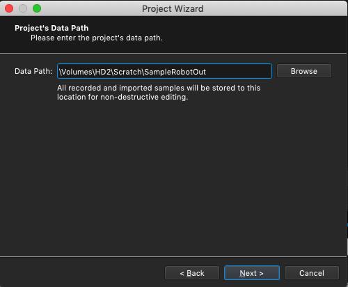 Kontakt plugin, SampleRobot Project Wizard, Data Path