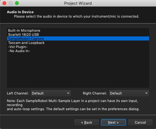 Kontakt plugin, SampleRobot Project Wizard, Audio In Device