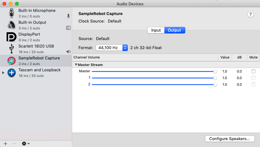 Audio MIDI Setup application in Mac, Loopback, a new audio interface called SampleRobot Capture is listed