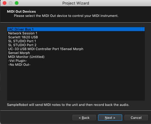 Kontakt plugin, SampleRobot Project Wizard, MIDI Out device