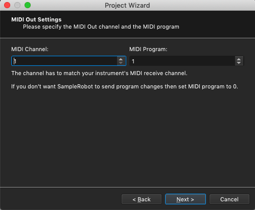 Kontakt plugin, SampleRobot Project Wizard, MIDI Out Settings