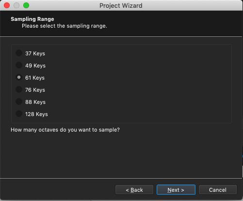 Kontakt plugin, SampleRobot Project Wizard, Sampling Range