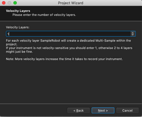 Kontakt plugin, SampleRobot Project Wizard, Velocity Layers