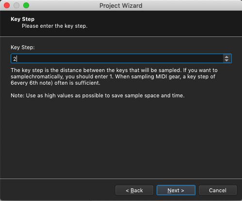 Kontakt plugin, SampleRobot Project Wizard, Key Step