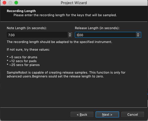 Kontakt plugin, SampleRobot Project Wizard, Recording Length