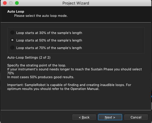 Kontakt plugin, SampleRobot Project Wizard, Auto Loop Mode, Sample Length