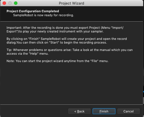 Kontakt plugin, SampleRobot Project Wizard, Project Configuration Completed