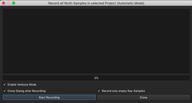 Record all Multi-Samples in selected Project (Automatic Mode)
