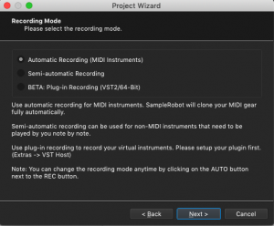 Sample Robot, Project Wizard, Recording Mode, Automatic Recording
