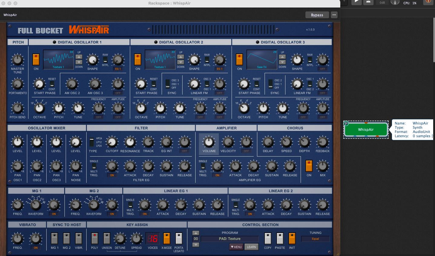 WhispAir, AudioUnit plugin, AU plugin in Gig Performer