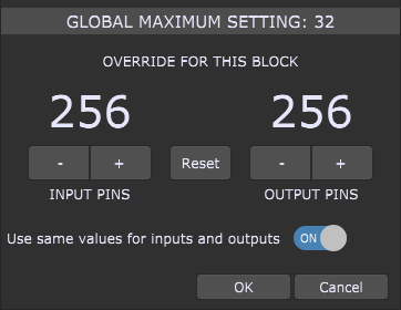 Maximum audio channels for a plugin block in Gig Performer