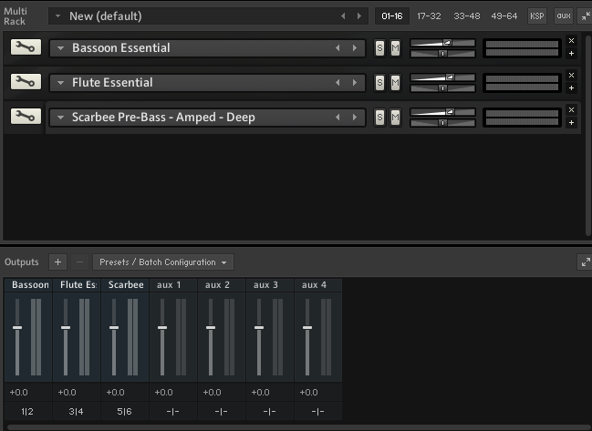 Kontakt 5 plugin, 3 virtual instruments loaded (Bassoon, Flute and Bass)