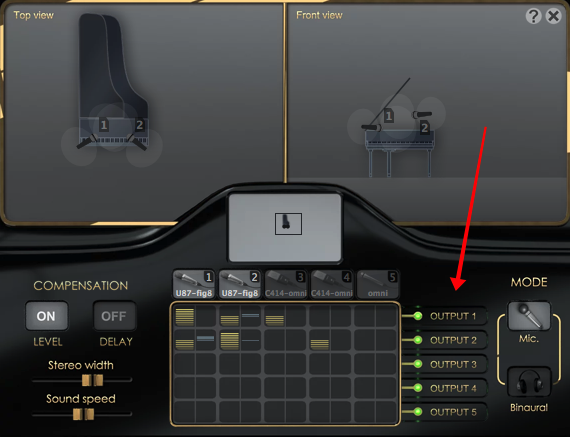 Pianoteq plugin, virtually position up to five microphones at different locations of the piano, mix the audio from each microphone and send to up to 5 output channels (2 stereo + 3 aux channels)