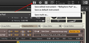 Kontakt, Save edited instrument