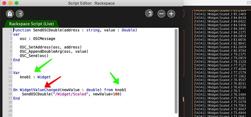 Gig Performer Script Editor Send OSC message